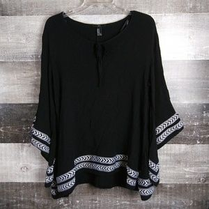 XXI Black White Tunic Boho Chic Top Blouse Medium